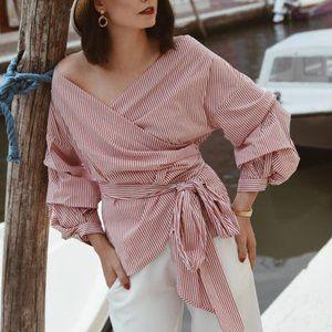 Zara Striped Wrap Top